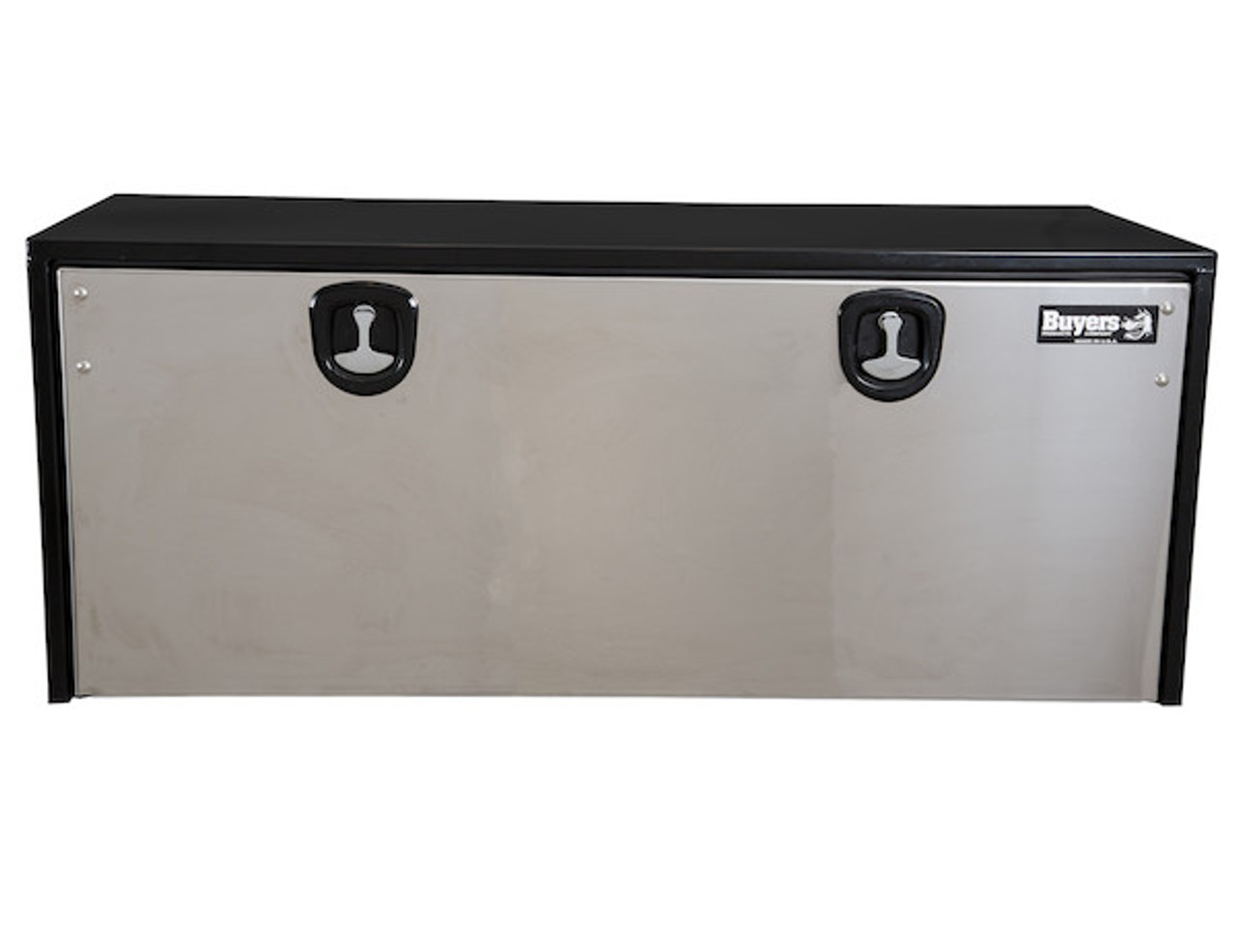 """1704715 BUYERS PRODUCTS BLACK STEEL UNDERBODY TRUCK TOOLBOX WITH STAINLESS STEEL DOOR 24""""HX24""""DX60""""W"""