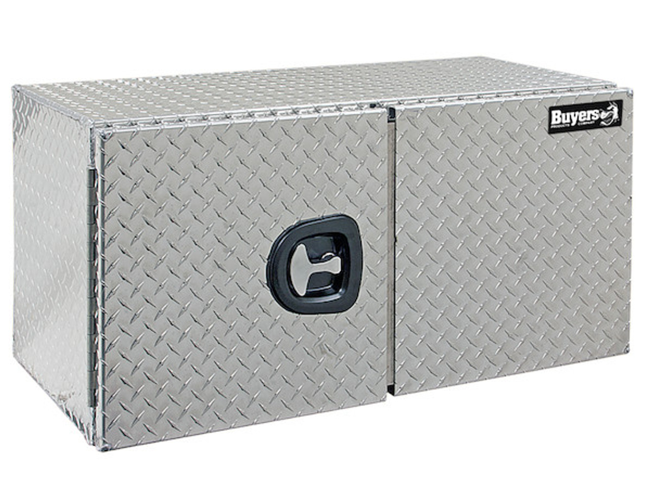 "1705210 BUYERS PRODUCTS DIAMOND TREAD ALUMINUM UNDERBODY TRUCK TOOLBOX WITH BARN DOOR 18""HX18""DX48""W"