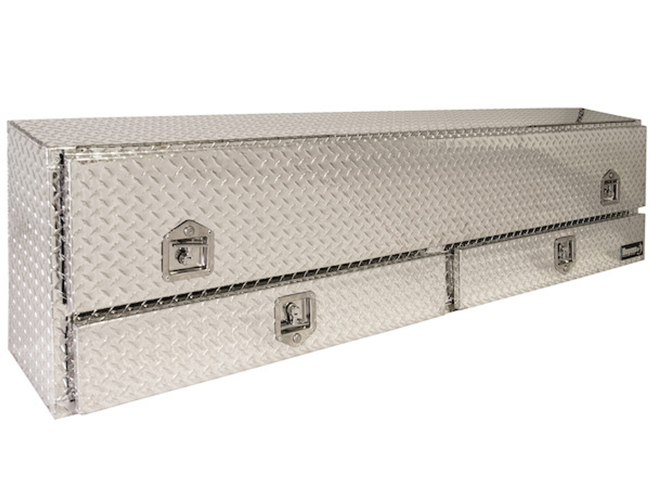 """1705651 BUYERS PRODUCTS DIAMOND TREAD ALUMINUM CONTRACTOR TRUCK TOOLBOX WITH LOWER DRAWERS 21""""HX13.5""""DX88""""W"""