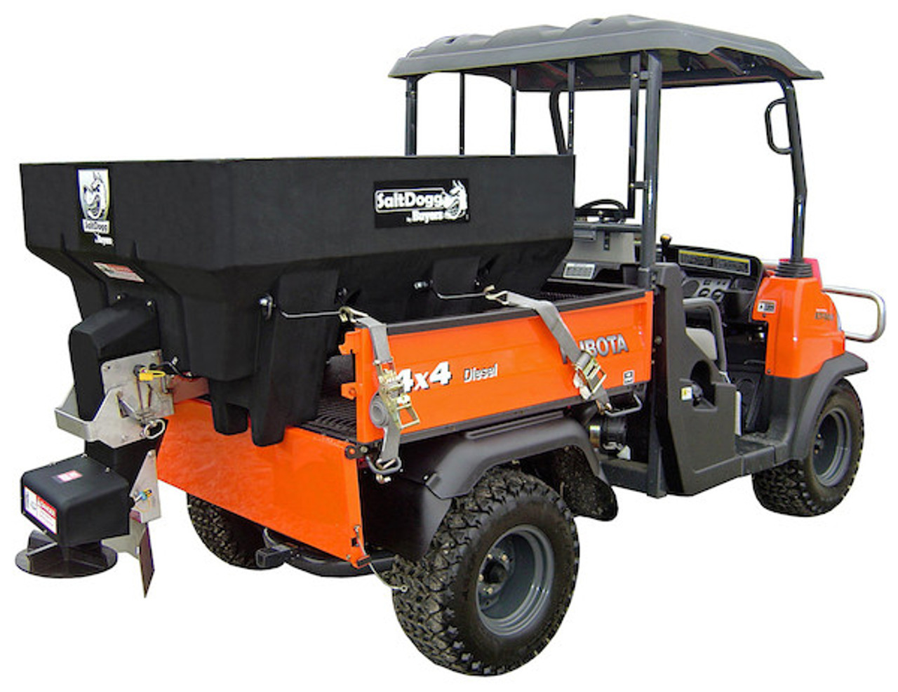 SHPE0750X BUYERS SaltDogg 0.75 Cubic Yard Electric Black Poly Hopper Spreader - Extended Chute 1