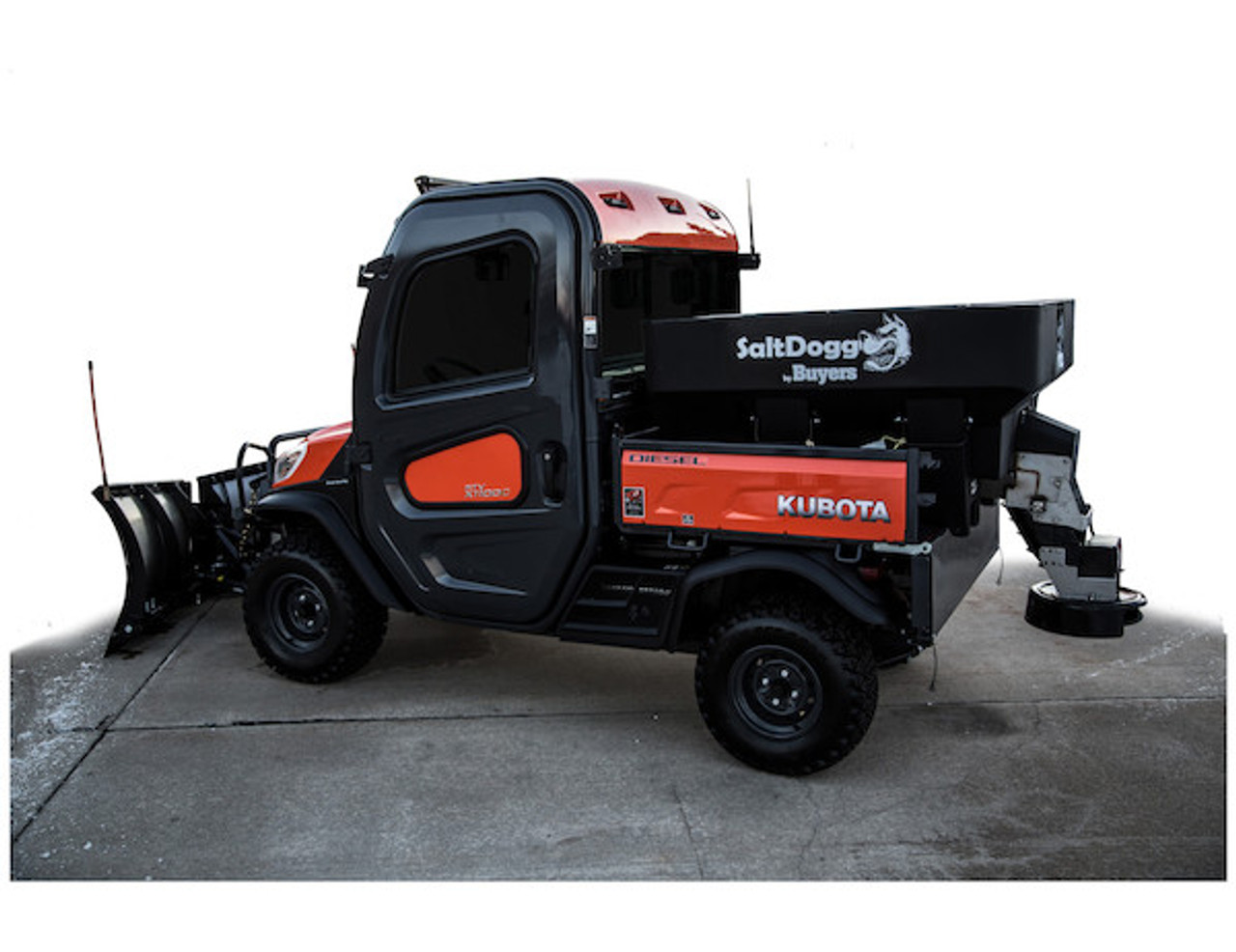 SHPE0750X BUYERS SaltDogg 0.75 Cubic Yard Electric Black Poly Hopper Spreader - Extended Chute 3