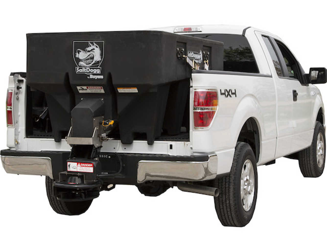 SHPE1000X BUYERS SaltDogg 1.0 Cubic Yard Electric Black Poly Hopper Spreader - Extended Chute 1
