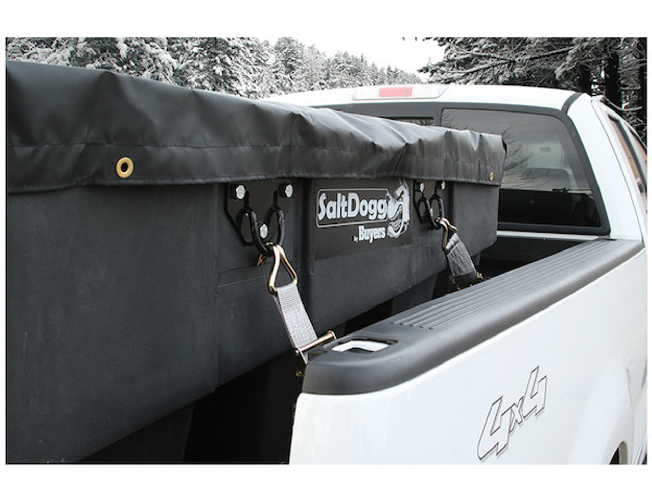 SHPE1000X BUYERS SaltDogg 1.0 Cubic Yard Electric Black Poly Hopper Spreader - Extended Chute 2