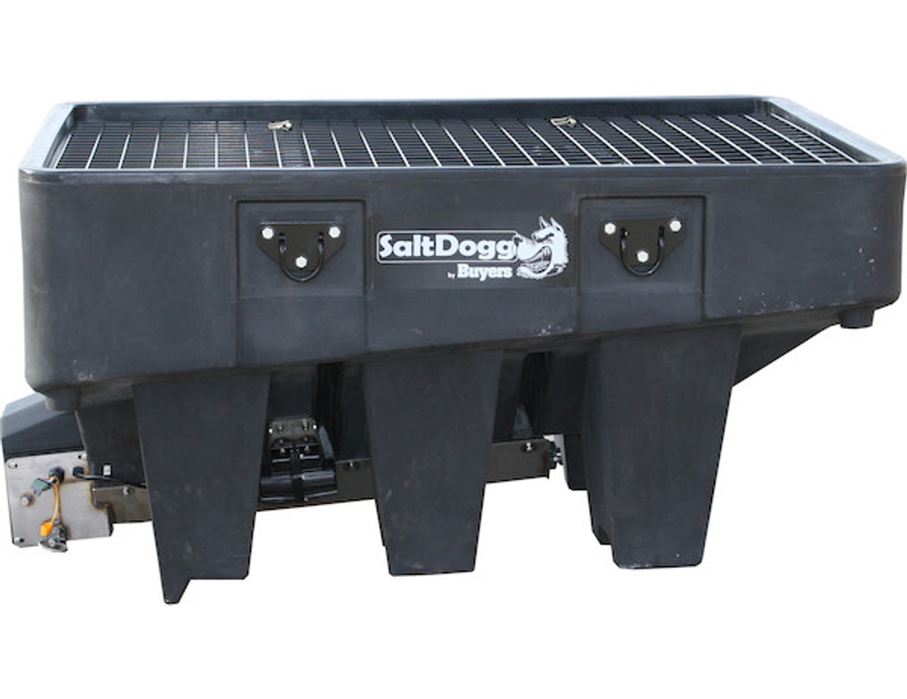 SHPE1000X BUYERS SaltDogg 1.0 Cubic Yard Electric Black Poly Hopper Spreader - Extended Chute 3