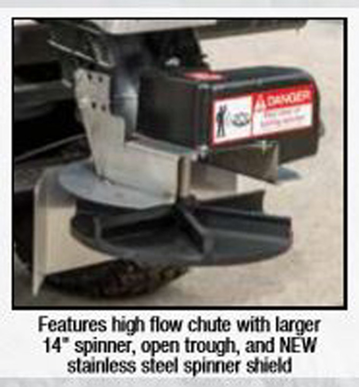 """SHPE1500X BUYERS SaltDoggå¨ 1.5 Cubic Yard Electric Black Poly Hopper Spreader - Extended Chute 5 14"""" SPINNER WITH OPEN CHUTE"""
