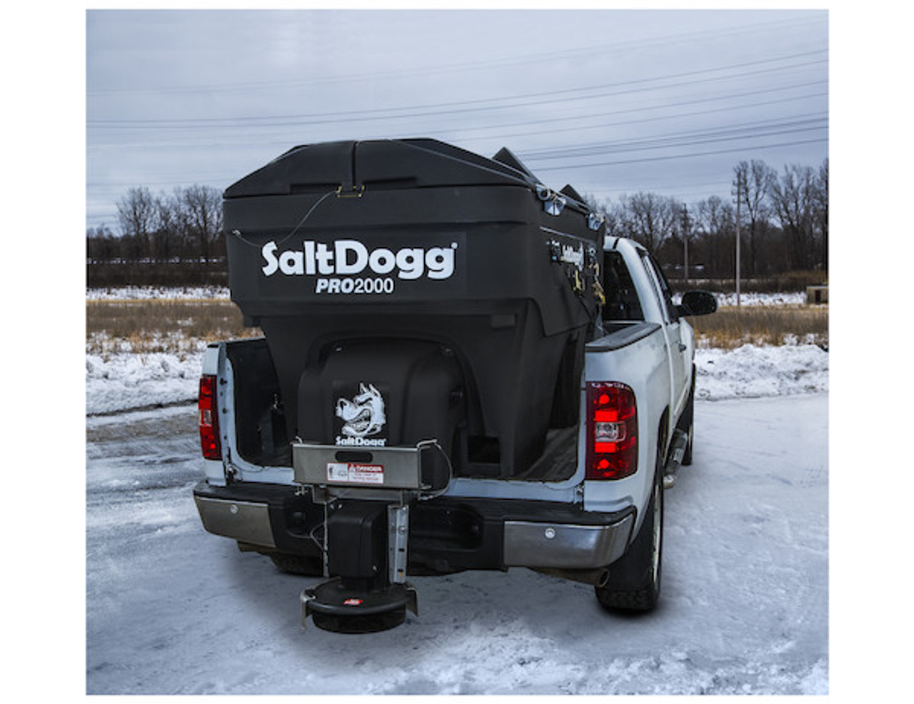 PRO2000CH BUYERS SALTDOGG ELECTRIC POLY HOPPER SPREADER WITH CONVEYOR CHAIN  SHOWN WITH SALTDOGG EZ LID (LID SOLD SEPARATELY) Picture # 3