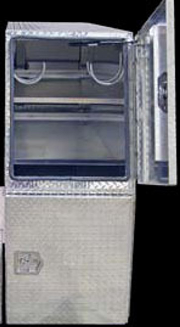 """BP827024 BUYERS PRODUCTS DIAMOND TREAD ALUMINUM BACKPACK TOOLBOX WITH OFFSET FLOOR 70""""Hx24""""Dx82""""W  Picture # 2"""
