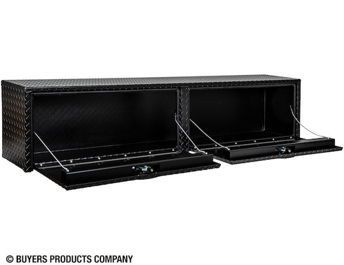 "1722551 TEXTURED MATTE BLACK DIAMOND TREAD ALUMINUM TOPSIDER TRUCK TOOLBOX 16""Hx13""Dx72""W Picture # 2"