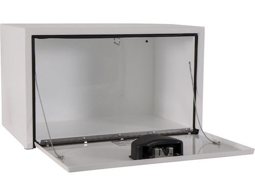 """1702203 BUYERS PRODUCTS WHITE STEEL UNDERBODY TRUCK TOOLBOX WITH PADDLE LATCH 18""""HX18""""DX30""""W"""