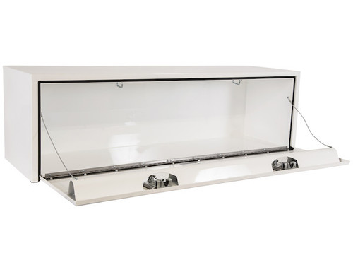 "1702215 BUYERS PRODUCTS WHITE STEEL UNDERBODY TRUCK TOOLBOX WITH PADDLE LATCH 18""HX18""DX60""W"