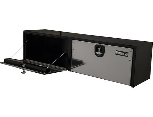 1702725 BUYERS PRODUCTS BLACK STEEL UNDERBODY TRUCK BOX WITH STAINLESS STEEL DOOR TOOLBOX