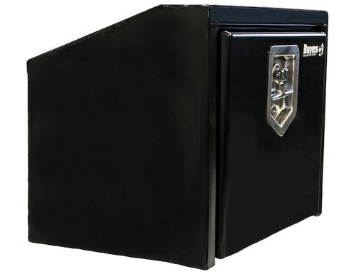 """1703351 BUYERS PRODUCTS BLACK STEEL UNDERBODY TRUCK TOOLBOX WITH SLANTED BACK 14""""HX12""""DX18""""W"""
