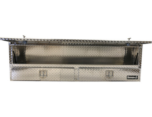 "1705651 BUYERS PRODUCTS DIAMOND TREAD ALUMINUM CONTRACTOR TRUCK TOOLBOX WITH LOWER DRAWERS 21""HX13.5""DX88""W"