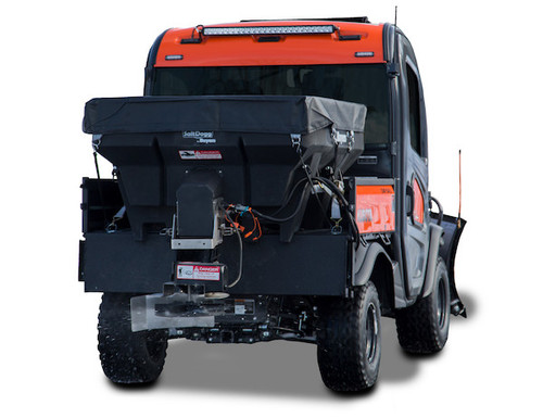 SHPE0750X BUYERS SaltDogg 0.75 Cubic Yard Electric Black Poly Hopper Spreader - Extended Chute 2