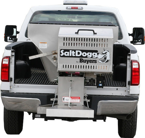 1400100SS BUYERS SALTDOGG 2 CUBIC YARD GAS STAINLESS HOPPER SPREADER