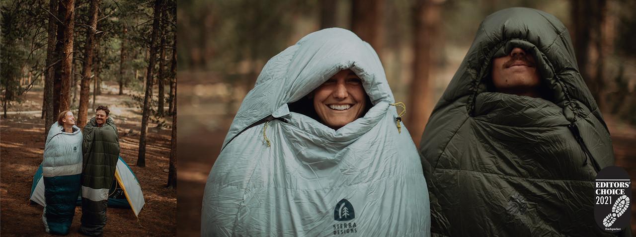 People wearing Get Down sleeping bags