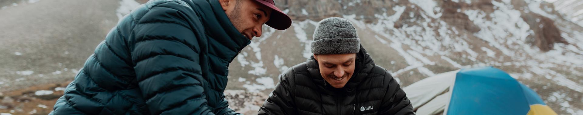 Two men winter camping