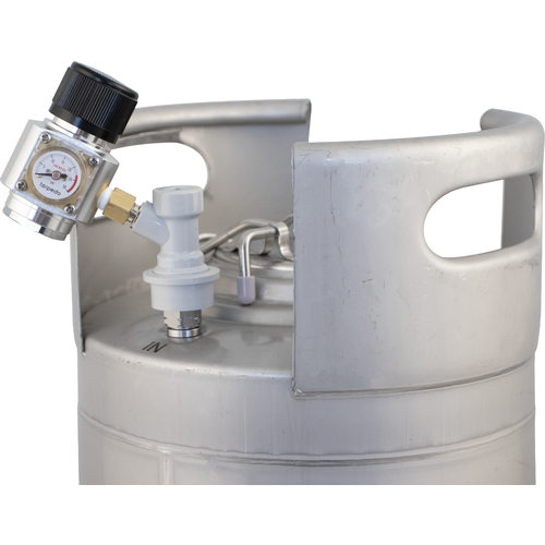Mini CO2 Regulator attached to keg