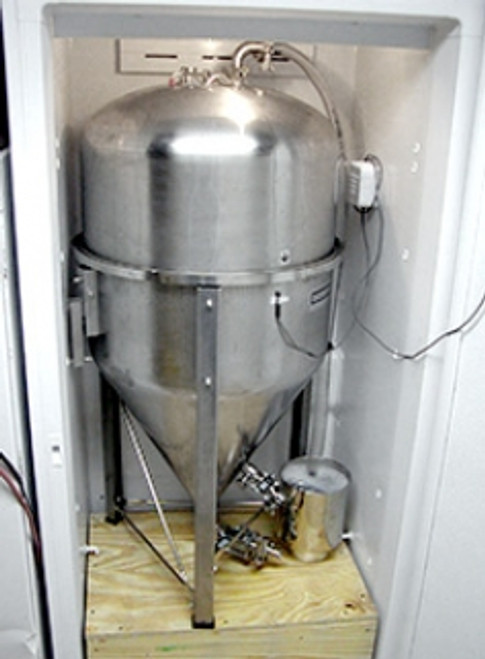 14 Gallon Conical Fermentor with Tri-clamp Fittings in Refrigerator