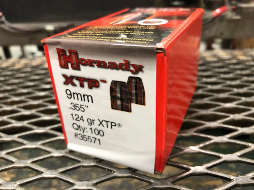 "Hornady 9MM 124gr XTP (.355"") 100ct/box  (Projectile Only)"