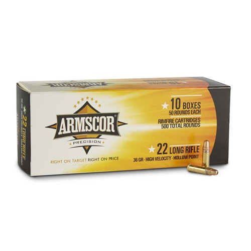 22 Long Rifle 36gr. High Velocity Hollow Point 500 rds