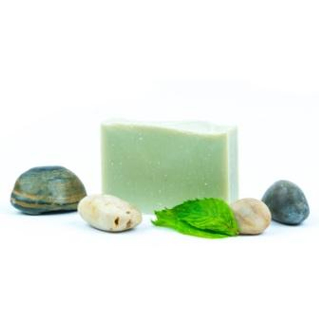 Peppermint, Green Clay & Pumice luxury soap bar linen wrapped