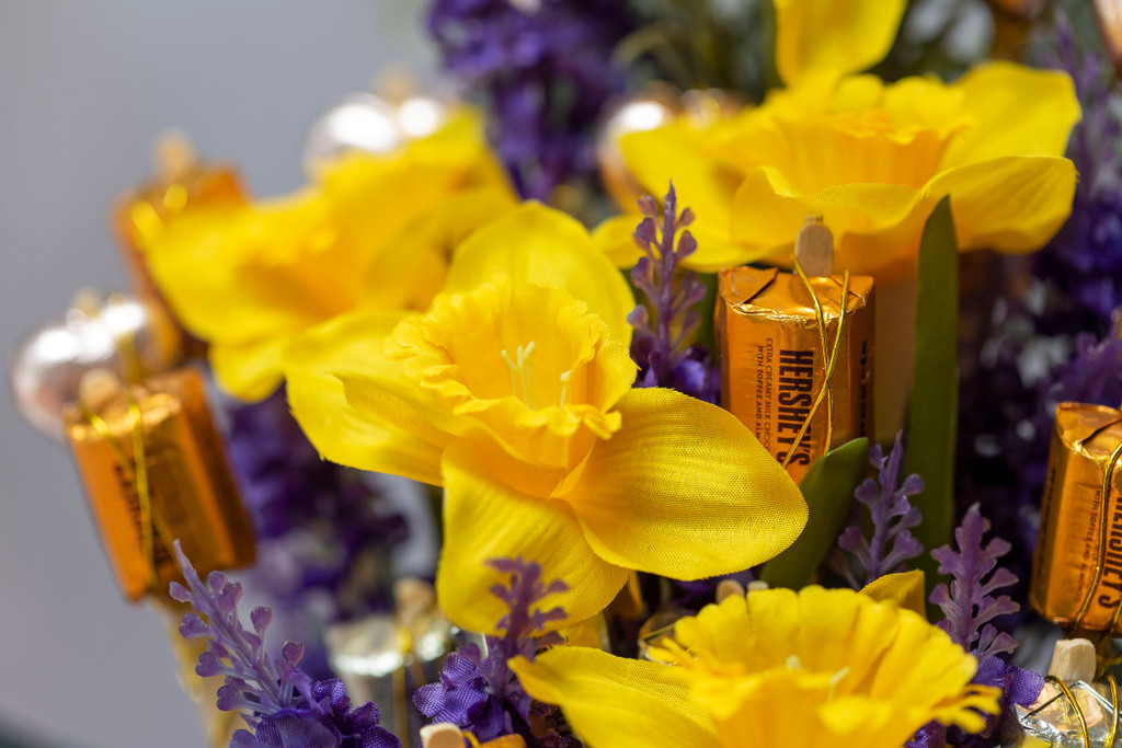 88820 SFL1 Lavender & Daffodils Chocolate Bouquet delivered