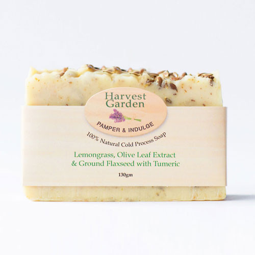 Lemongrass, Olive Leaf extract, Ground Flaxseed & Turmeric 130gm Harvest Garden hand poured soap bar