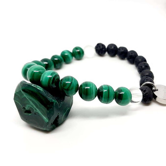 crystal malachite and clear quartz with lava aromatherapy stones for essential oils to boost your everyday. Wear natural handmade healing jewellery.