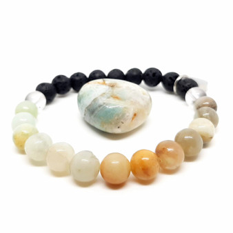 "Named after the Amazon women warriors, Amazonite is an aesthetically soothing pastel blend of aquas, greens & natural shades of caramel. A strong energetic reminder that you should listen to your intuition, allow it to flow through you freely, filling your aura with confident and calming vibes to get you through each and every day. Encouraging love, promoting fertility & revealing truths in our everyday life. Amazonite is also a stone of renewal and new beginnings.   Amazonite is said to help with breast, throat & thyroid problems. It is also beleived to assist in recovery after illnesses as well as focusing on maintaining your health and participating in healthy lifestyle habits.  Emotionally, Amazonite draws our focus back on yourself, when you are given the opportunity to kick self neglect to the curb, take it!  Let your femininity roam free and respect your body and your boundaries while you process any pent up anger in a postive manner to release these energies from your body and move forwards.  Amazonite is a strong stone that provides a layer of protection if directly placed between your self and electronics to prevent harmful electromagnetics reaching your body.   Zodiac: Virgo  Chakra: Throat & heart  Essential Oils: Basil, mint, bergamont, patchouli, fennel, hyacinth  Candle Colour: Turquoise, aqua, lime, brown  Vibration: High  Mantra:  ""I expect fair treatment and consideration from others."""