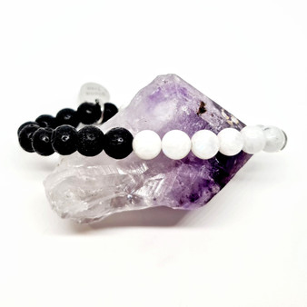 Rainbow Moonstone crystal & aromatherapy calming anxiety bracelet for oil diffusing