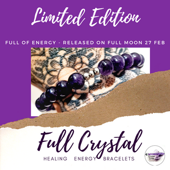 Limited edition full crystal bracelets release date next full moon Amethyst purple gemstone
