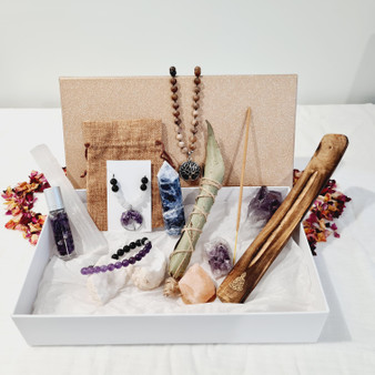 Stone Tree Mystery Box's are set in a FREE gift box, beautifully displayed with crystal information cards. Jewellery comes with a eco friendly cotton drawstring bag. We are giving you the opportunity to achieve the ultimate value for money on offer!  What's on offer? Your box may include anything from, bracelets, necklaces, small tumble crystals, large crystal chunks, crystal angels, crystal anklets, himalayan salt products, native eucalyptus smudge, incense, amethyst clusters, custom designs & sets, crystal rings, zodiac & birthstones jewellery, chakra jewellery, tarot & oracle decks, natural rocks and gems hand collected beachside plus more!  Images online are examples and are dependant on price ordered. Every box is inuitively curated to bring mysterious joy so go ahead & order on for everyone in your tribe!  Live a life full of surprise!  After the perfect gift? These are set in a FREE gift box, beautifully displayed with crystal information cards. Jewellery comes with a eco friendly cotton drawstring bag. We are giving you the opportunity to achieve the ultimate value for money on offer!  What's on offer? Your box may include anything from, bracelets, necklaces, small tumble crystals, large crystal chunks, crystal angels, crystal anklets, himalayan salt products, native eucalyptus smudge, incense, amethyst clusters, custom designs & sets, crystal rings, zodiac & birthstones jewellery, chakra jewellery, tarot & oracle decks, natural rocks and gems hand collected beachside plus more!  Images online are examples and are dependant on price ordered. Every box is inuitively curated to bring mysterious joy so go ahead & order on for everyone in your tribe!  Live a life full of surprise!
