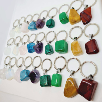 Tumbled Crystal Keyrings come in a range of shapes and sizes. These tumbled stones are created with a brass clasp attached to a 304 stainless steel keyring!