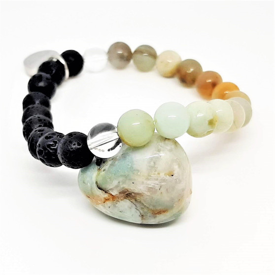 """Named after the Amazon women warriors, Amazonite is an aesthetically soothing pastel blend of aquas, greens & natural shades of caramel. A strong energetic reminder that you should listen to your intuition, allow it to flow through you freely, filling your aura with confident and calming vibes to get you through each and every day. Encouraging love, promoting fertility & reveiling truths in our everyday life.  Amazonite is said to help with breast, throat & thyroid problems. It is also beleived to assist in recovery after illnesses as well as focusing on maintaining your health and participating in healthy lifestyle habits.  Emotionally, Amazonite draws our focus back on yourself, when you are given the opportunity to kick self neglect to the curb, take it!  Let your femininity roam free and respect your body and your boundaries while you process any pent up anger in a postive manner to release these energies from your body and move forwards.  Amazonite is a strong stone that provides a layer of protection if directly placed between your self and electronics to prevent harmful electromagnetics reaching your body.  Zodiac: Virgo  Chakra: Throat & heart  Essential Oils: Basil, mint, bergamont, patchouli, fennel, hyacinth  Candle Colour: Turquoise, aqua, lime, brown  Vibration: High  Mantra: """"I expect fair treatment and consideration from others."""""""