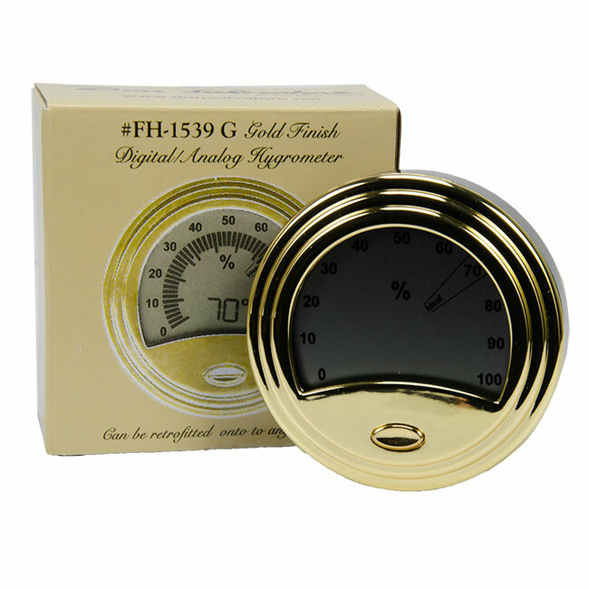 Don Salvatore Round Digital Hygrometer Gold (FH-1539-G)