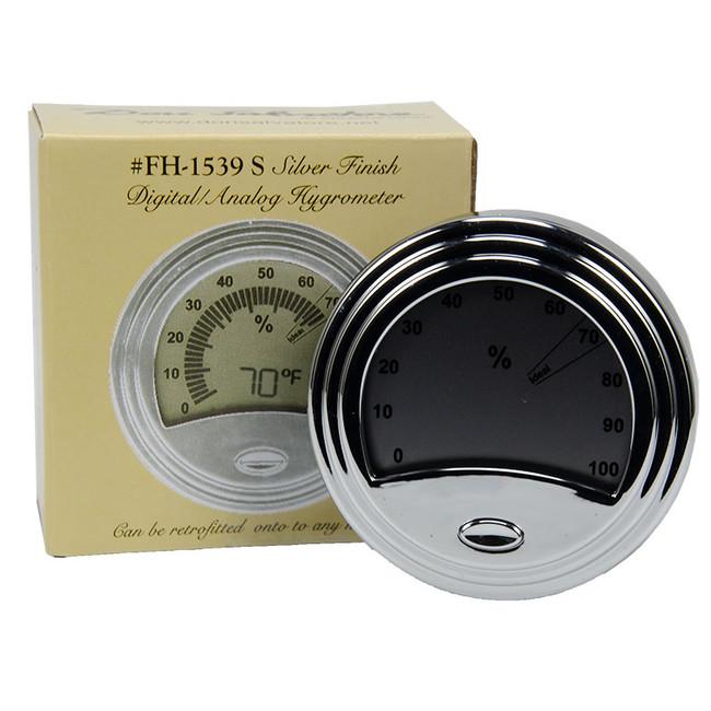 Don Salvatore Round Digital Hygrometer Silver (FH-1539-S)