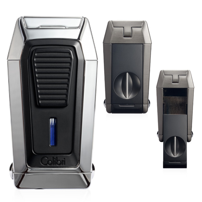 Colibri Quantum Triple Jet Lighter & V-Cutter (Chrome/Black)