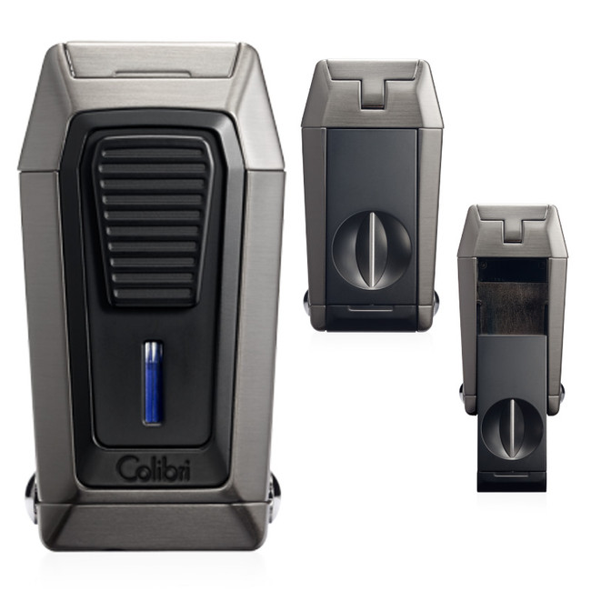 Colibri Quantum Triple Jet Lighter & V-Cutter (Gunmetal/Black)