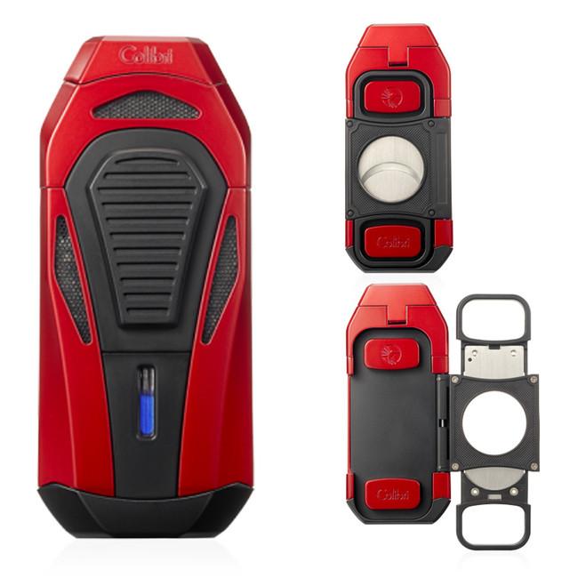 Colibri Boss Triple Jet Lighter & Cutter (Red/Black)