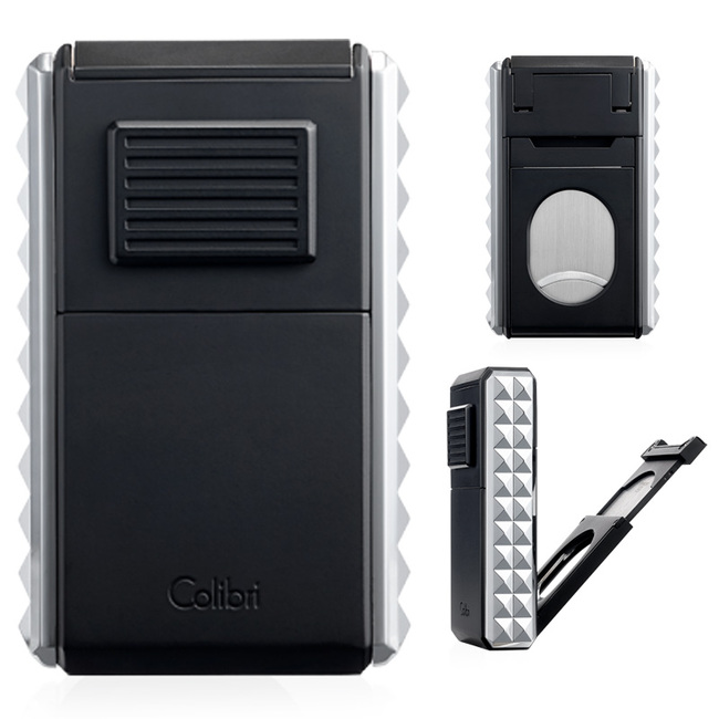 Colibri Quasar Astoria Triple Jet Lighter & Cutter (Black/Chrome)