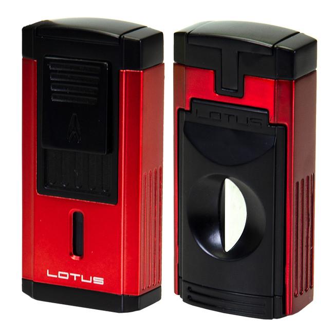 Lotus Duke V Triple Torch Lighter V-Cut - Red/Black