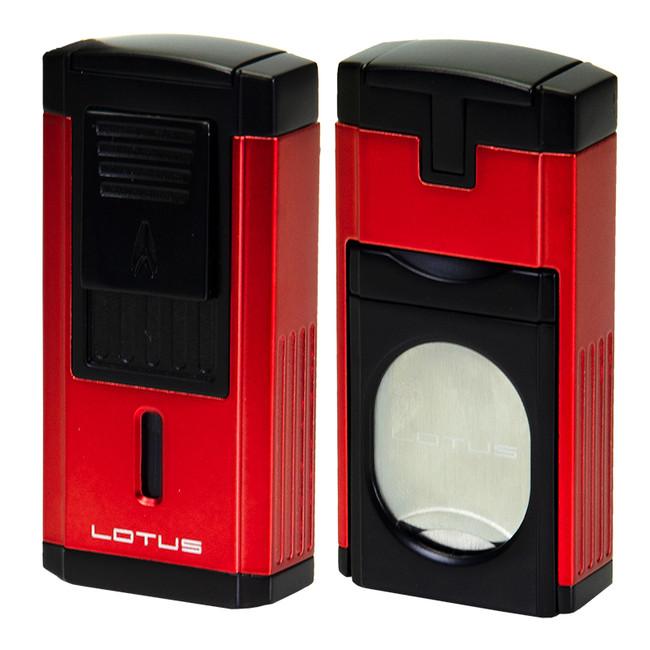 Lotus Duke Triple Torch Lighter & Cutter - Red/Black
