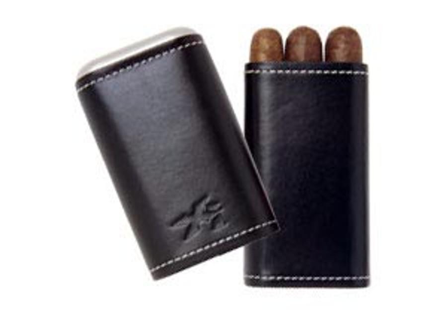 Xikar Envoy Black Leather 3 Count Cigar Case