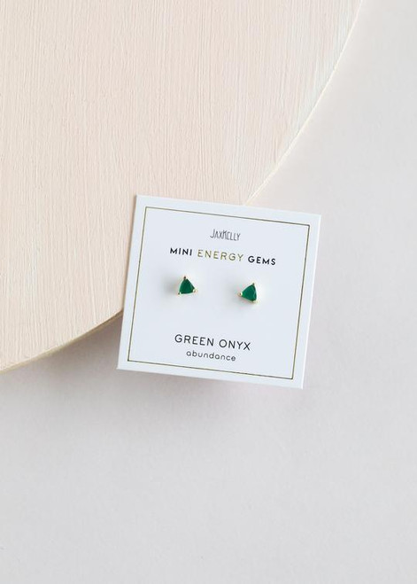 Mini Energy Gem Earrings   Green Onyx