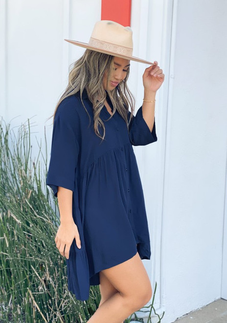 Short Sleeve Denim Dot Dress