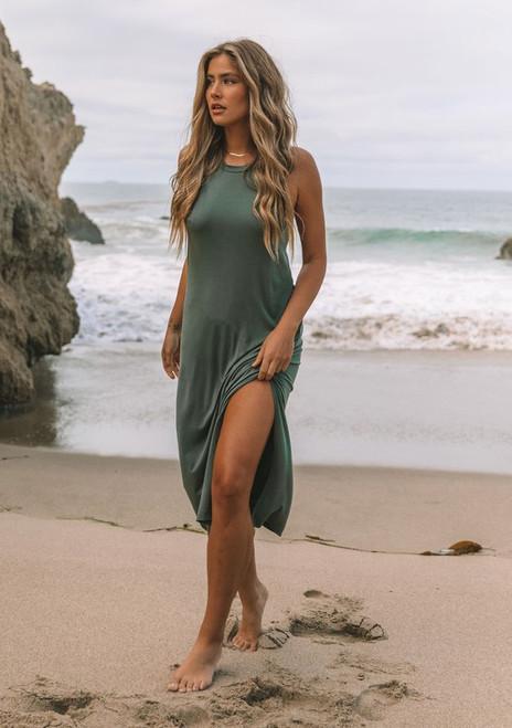 Knotted Razer Back Maxi Dress | Olive