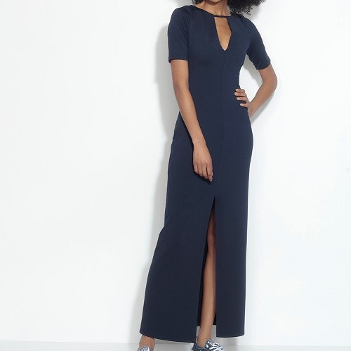 Elbow Sleeve Slit Front Dress | Black
