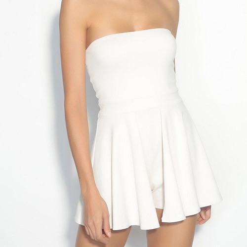 Skirt Overlay Romper   Blanched Almond