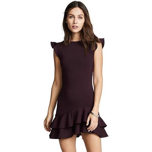 Sleeveless Ruffle Hem Dress | Bordeaux